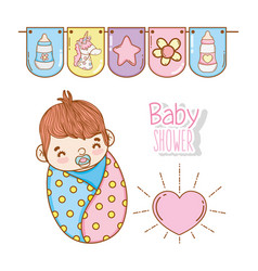 Baby boy shower with heart and party flags vector