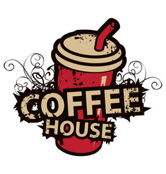 banner with paper coffee cup and lettering vector image