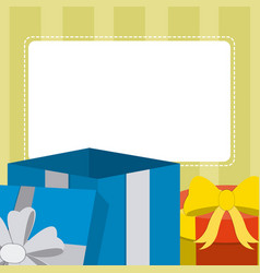 Blank note card with gift boxes vector