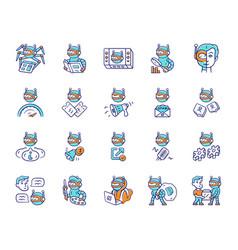 Bot types color icons set crawler hacker spambot vector