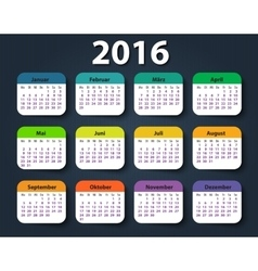 Calendar 2016 year German Week starting on Monday vector image