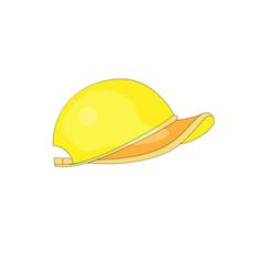 cartoon fun yellow baceball cap icon vector image