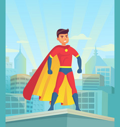 cartoon superhero watching city comic powerful vector image