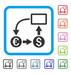 cashflow euro exchange framed icon vector image
