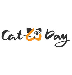 cat day lettering text for greeting card vector image
