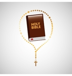 catholic rosary and holy bible icon design vector image