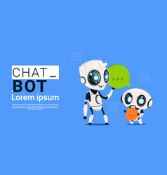 Chat bot robots holding speech bubble banner with vector