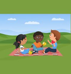 children at picnic in summer nature landscape vector image
