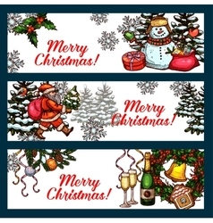 Christmas holidays banner set for festive design vector image