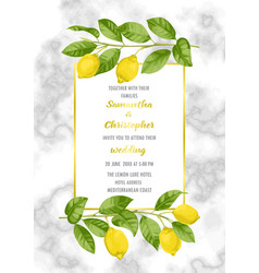 Classic marble wedding invitation card with lemon vector