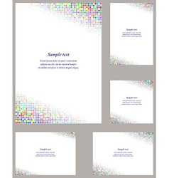 Colorful mosaic page corner design template set vector