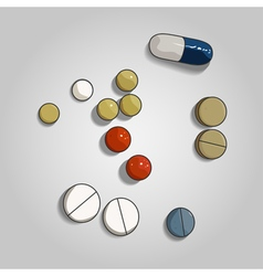 Colorful pill and tabs on grey background vector image