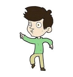 Comic cartoon pointing boy vector