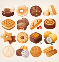 Cookies and biscuits icons set vector