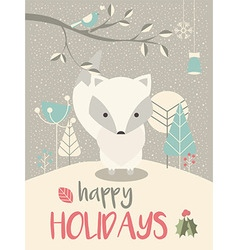 Cute Arctic Christmas baby fox vector