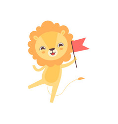 cute lion with red flag funny african animal vector image