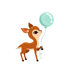 Cute little fawn character with balloon vector