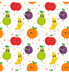 Cute seamless pattern with happy fruits vector