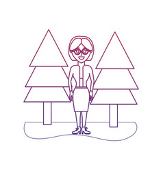 Degraded outline elegant woman wearing glasses and vector