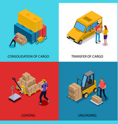 delivery isometric 2x2 design concept vector image