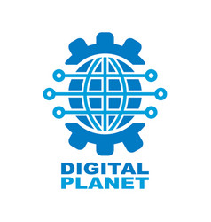 Digital planet global technology logo design vector