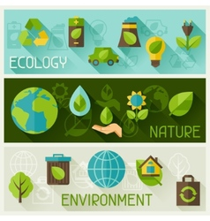 Ecology banners with environment icons vector