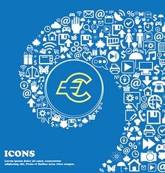 Euro EUR sign symbol Nice set of beautiful icons vector image