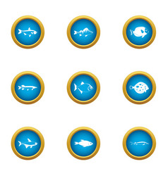 fish business icons set flat style vector image