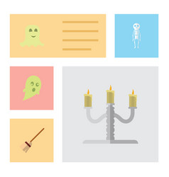 Flat icon celebrate set of spirit candlestick vector