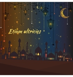 Greeting card with silhouette of a mosque and vector