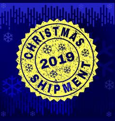 Grunge christmas shipment stamp seal on winter vector
