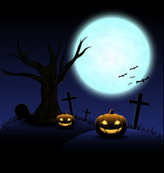 halloween night with blue moon and pumpkins vector image