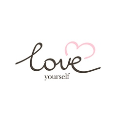 hand drawn lettering phrase love yourself vector image