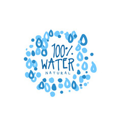 Hand drawn signs of pure water for logo or badge vector