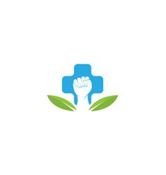 Hands clenched on medical logo design vector