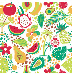 hawaiian seamless pattern with tropical fruits and vector image