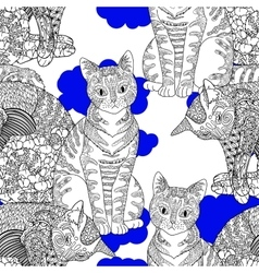 High detailed seamless pattern with cat vector