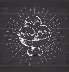 ice cream sketch vintage label hand drawn grunge vector image