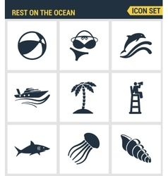 Icons set premium quality of rest on the ocean vector image