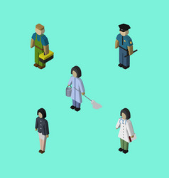 Isometric person set of officer plumber girl and vector