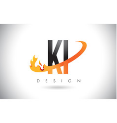 ki k i letter logo with fire flames design and vector image