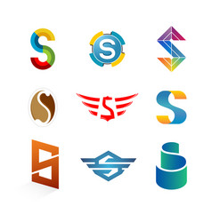 letters s logo set different style and colors s vector image