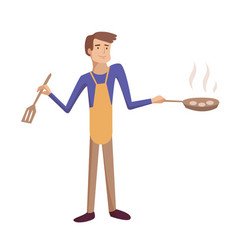 man cooking frying cartoon vector image