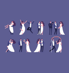married couples newly wed bride and groom vector image