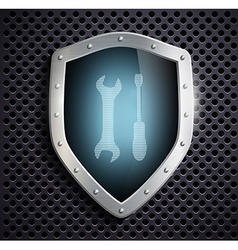 metal shield with the image of the tool vector image