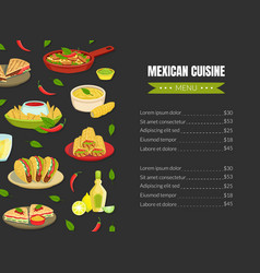 mexican traditional food menu template mexican vector image