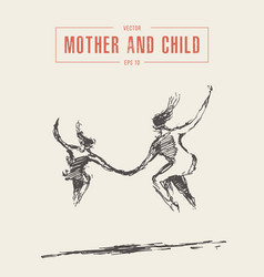 mother and child running jumping silhouette vector image