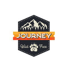 Moutnain journey badge wild and free logo vector