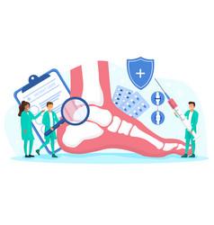 Multiracial orthopedics doctors examine foot vector
