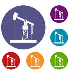 Oil pump icons set vector